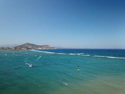Greek Islands - Naxos. Windsurf lagoon sailing area.